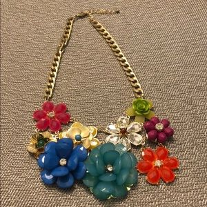 Multicolored Flower Statement Necklace